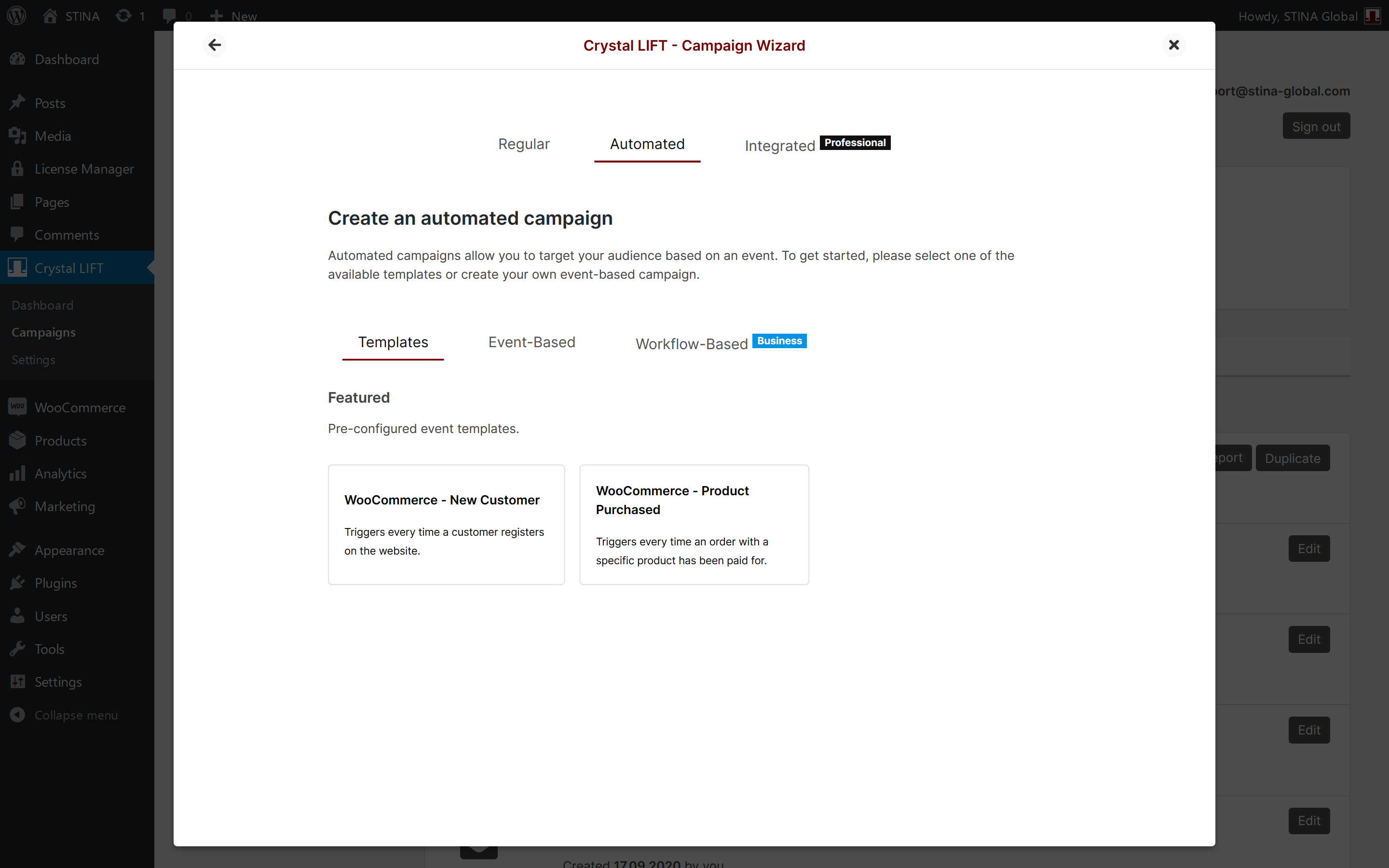 campaigns create campaign wizard step 2 automated templates